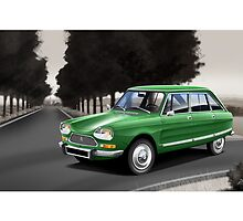 Citroen AMI 8 Poster Illustration by Autographics