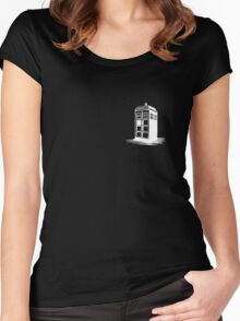 Dr Who's Tardis - White Women's Fitted Scoop T-Shirt