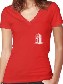 Dr Who's Tardis - White Women's Fitted V-Neck T-Shirt