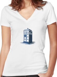 Tardis - Dr Who Women's Fitted V-Neck T-Shirt