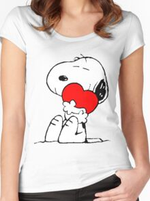 Snoopy Heart Love Women's Fitted Scoop T-Shirt
