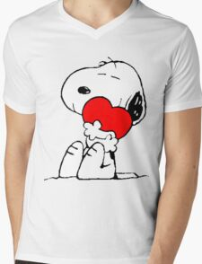 Snoopy Heart Love Mens V-Neck T-Shirt
