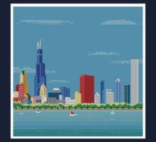 Chicago Pixel Skyline Kids Tee