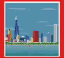 Chicago Pixel Skyline Kids Tee