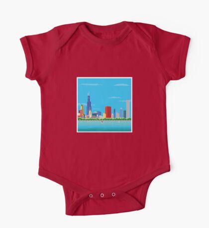 Chicago Pixel Skyline One Piece - Short Sleeve