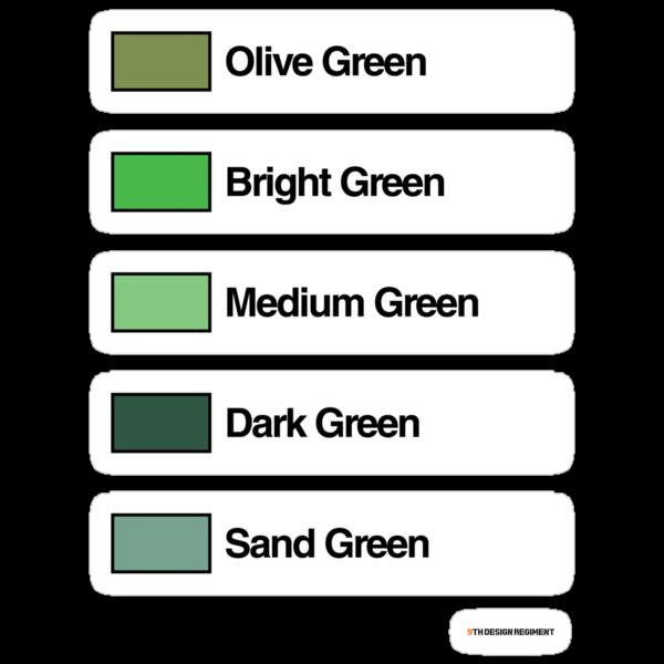 Brick Sorting Labels: Olive Green, Bright Green, Medium Green, Dark Green, Sand Green by 9thDesignRgmt