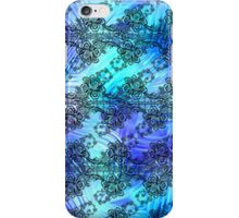 Black Lace over Soft Blue Patterned Glass iPhone Case/Skin