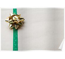 Gift Wrapped Bow and Ribbon on Recycled Paper Poster