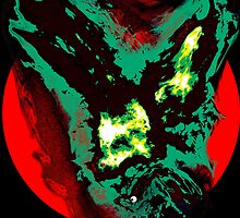 Green Gothic Phoenix flying in the red sun with creature black background by Followthedon