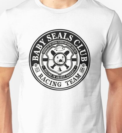 Baby Seals Club Racing White T-shirt Unisex T-Shirt
