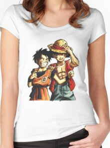 Monkey D. Luffy and Goku Women's Fitted Scoop T-Shirt