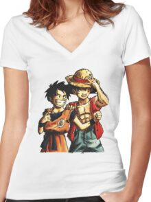 Monkey D. Luffy and Goku Women's Fitted V-Neck T-Shirt