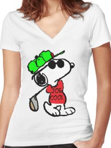 Joe Cool and Golf Women's Fitted V-Neck T-Shirt
