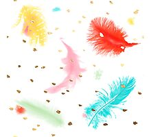 Whimsical Feather, Gold Specks Photographic Print
