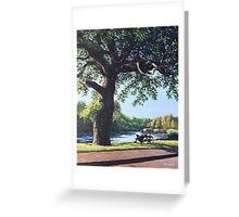 Southampton Riverside park oak tree with cyclist Greeting Card