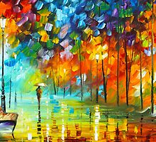 Bench- Oil painting on Canvas By Leonid Afremov by Leonid  Afremov