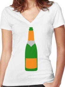Champagne bottle Women's Fitted V-Neck T-Shirt
