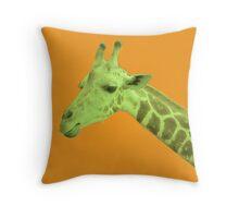 Green Neon Giraffe Throw Pillow