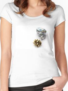 Gift Wrap Shiny Bow and Ribbon Women's Fitted Scoop T-Shirt