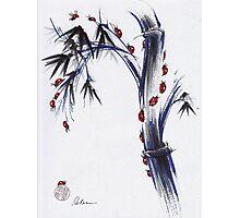 The Journey - Ladybug Bamboo mixed media painting Photographic Print