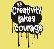 Creativity Takes Courage B&W One Piece - Short Sleeve
