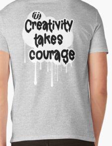 Creativity Takes Courage Black Text White BG Mens V-Neck T-Shirt