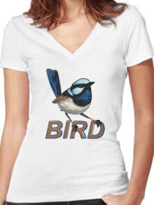 BIRD - Fairy Wren (Male) Women's Fitted V-Neck T-Shirt