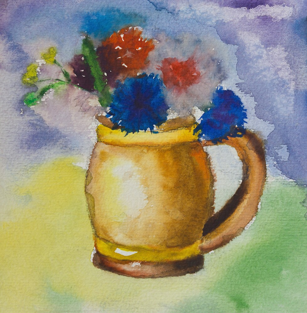 Kid's watercolor drawing of a colorful bouquet by kirilart