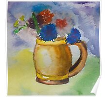 Kid's watercolor drawing of a colorful bouquet Poster