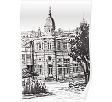 Ink Graphics of an Old Building in Bulgaria Poster
