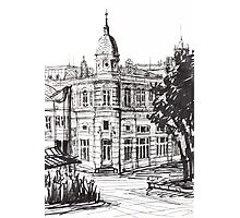 Ink Graphics of an Old Building in Bulgaria Photographic Print