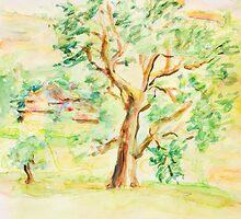 Watercolor Rural Summer Landscape by kirilart