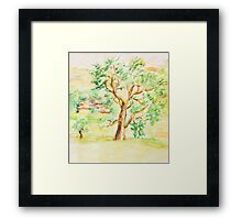 Watercolor Rural Summer Landscape Framed Print