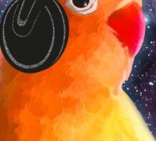 Space Bird Listening to Music Sticker