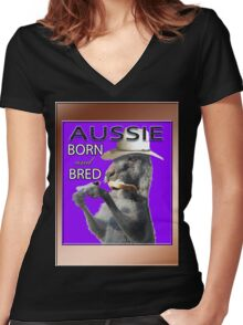 AUSSIE BORN & BRED Women's Fitted V-Neck T-Shirt