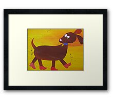 Dog in Clogs -Mini Sausage Dog - Animal Rhymes - created from recycled math books Framed Print