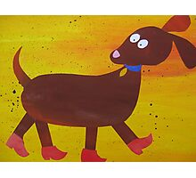 Dog in Clogs -Mini Sausage Dog - Animal Rhymes - created from recycled math books Photographic Print