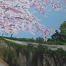 Cherry blossom falling - with river - realistic meets whimsical by cathyjacobs