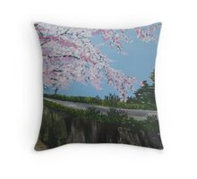 Falling Cherry Blossom in Japan - with river Throw Pillow