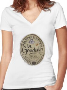 LA GOUDALE. Women's Fitted V-Neck T-Shirt