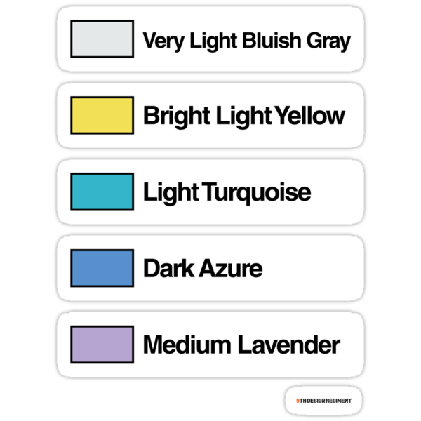 Brick Sorting Labels: Very Light Bluish Gray, Bright Light Yellow, Light Turquoise, Dark Azure, Medium Lavender by 9thDesignRgmt