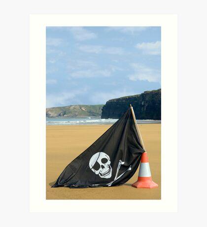 beach with jolly roger flag Art Print