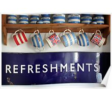 Refreshments -Old Railway Sign Poster