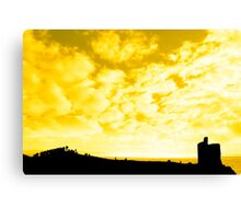silhouette of a crowd on a hill beside old castle Canvas Print