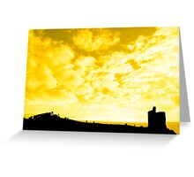 silhouette of a crowd on a hill beside old castle Greeting Card