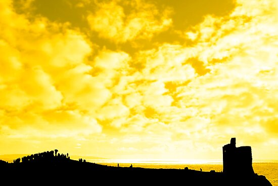 silhouette of a crowd on a hill beside old castle by morrbyte