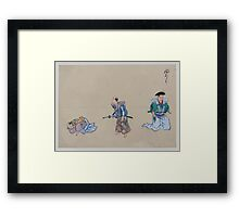 Kyōgen play with three characters two with swords the third lying down or feigning sleep 001 Framed Print