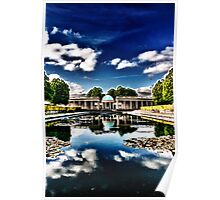 Pavilion Reflected in Lily Pond Poster