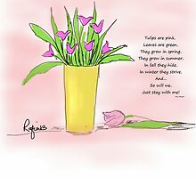 Pink Tulips Illustration by rafiashujaat