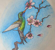 Hummingbird and the blossom by Troy Clark